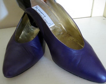 Vintage Purple Leather Shoes Arlene Marca Pumps Black Patent Heels Womens 9B