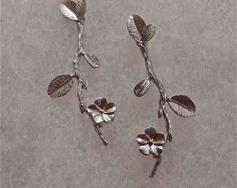 Silver Flower and Branch Earrings, Dangly Earrings, Leaf Earrings,