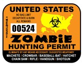 2016 United States Zombie Hunting Permit Vinyl Sticker - Individually Numbered