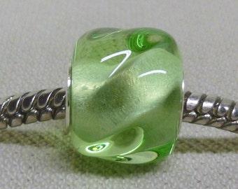 Handmade Lampwork Bead Silver Cored Fits Most European Style Bracelets Transparent Green Yellow