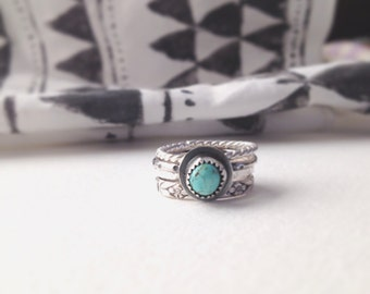 Stacking Rings-Silver Ring-statement Rings-Turquoise and Sterling Silver-Coachella Jewelry