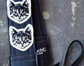 Black and White Cat Camera Strap - Vinyl - Meow Meow Meow