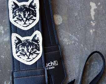 Black and White Cat Camera Strap - Vinyl - Meow Meow Meow