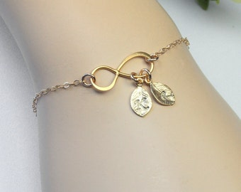 Personalized Infinity Bracelet, Friendship Bracelet, Gold Sisters bracelet, Gold Infinity Bracelet, Hand Stamped Letters