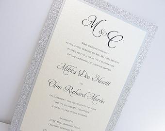 Glitter Invitation, Wedding Invitation, Elegant Wedding Invitation, Rustic Wedding Invitation, Vintage Wedding Invitation, Silver Invite UMA