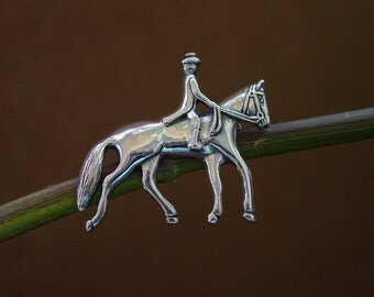 Dressage Horse and Rider Pin Brooch Sterling Silver,Equestrian Brooch