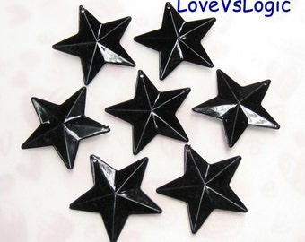 10 Huge Faceted Gothic Star Acrylic Charms. Jet
