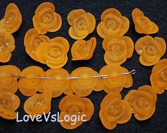 50 Acrylic Flower Beads Charms. Matte Dull Orange