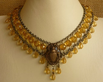 Egyptian Style Scarab Choker Topaz Czech Glass and Antique Brass