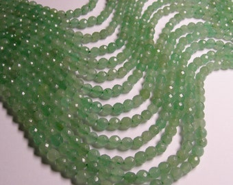 Aventurine - 6 mm faceted round beads -1 full strand - 63  beads - A quality - RFG388