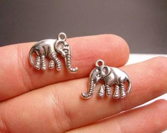 12 Elephant charms - 12 pcs - silver tone elephant charms - ASA125