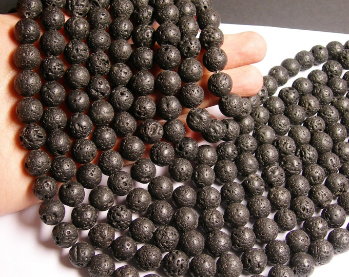 Lava volcanic gems - 12mm round - full strand - AA quality - 33 beads