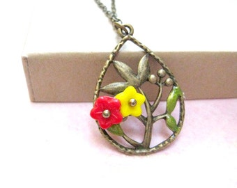 Flower Necklace, Yellow Flower Jewelry, Red Flower Necklace, Floral Jewelry