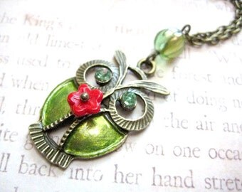 Green Owl Necklace