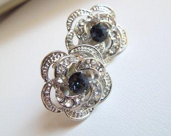 Bridal Earrings,Stud Earrings,Bridal Rhinestone Earrings,Rhinestone Earrings,Wedding Rhinestone Earrings,Something Blue Earrings, ROSELANI