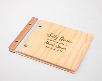 bridal shower guest book album custom wood wedding