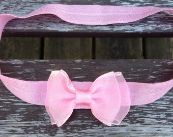 Pink Satin Headband with Bow - Baby, Infant, Child