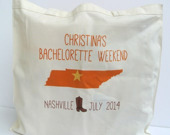 Country Western Bachelorette Party Totes, Bachlorette Party Totes, Bachelorette Gift, Bachelorette Party Favors, Nashville Bachelorette