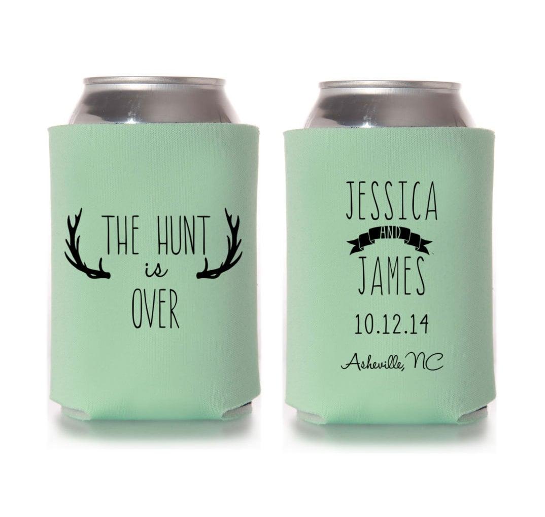 Custom Wedding Koozies: Personalized The Hunt Is Over Wedding By Yourethatgirldesigns