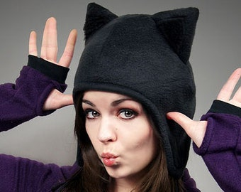 Black Cap Cat Kitty Fur Hat Animal Ears Beanie earmuffs pompons
