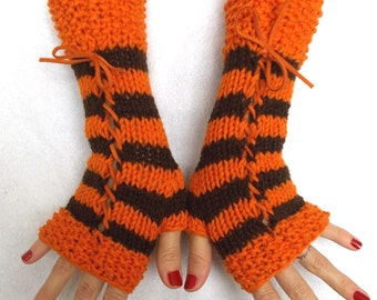 Fingerless Corset Gloves Brown Orange Wrist Warmers with Suede Ribbons Acrylic Women