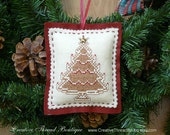 Felt Ornament - Gingerbread Christmas Tree - Christmas Ornament - Holiday Ornament - Holiday Pincushion - Handmade - Embroidered Ornament