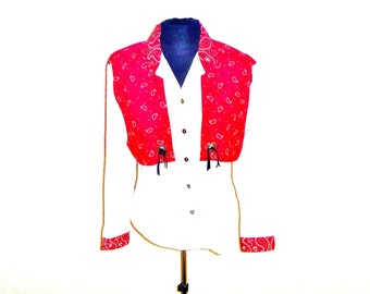 Vintage 1970's Cowgirl Rodeo Queen Blouse with Accenting Paisley Yoke and Conchos by Circle T Women's Large