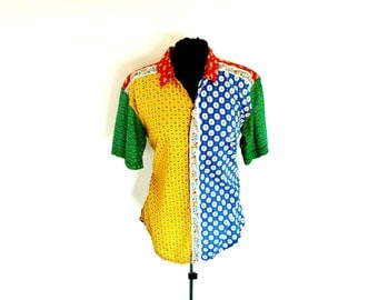 Vintage 90's Multi-Print Color-Block Printed Primary Colors Button-Down Blouse by Lizwear® Men's Medium