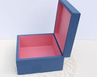 Wood Box, Craft Supply, Hand Painted Wooden Keepsake Box