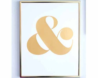 Ampersand Screen Print - Metallic Gold on White Paper