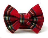 Red Tartan Bow Tie Dog Collar with Nickel Plate Hardware - 1.5 Inch Wide - Scottie Plaid