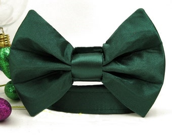 Evergreen Satin Bow Tie Dog Collar