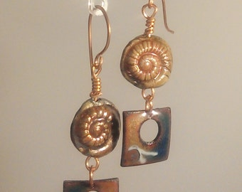 Enamel and Raku Earrings - Bronze Nautilus