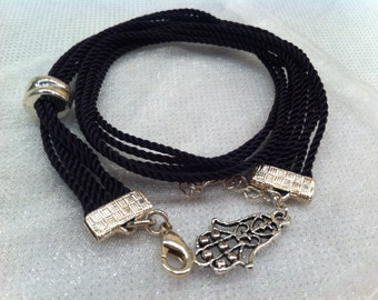 Charm CHAMSA wrapping stacking youthful black silver tone BRACELET unique one of a kind teen girl Bat Mitzvah  birthday gift for her