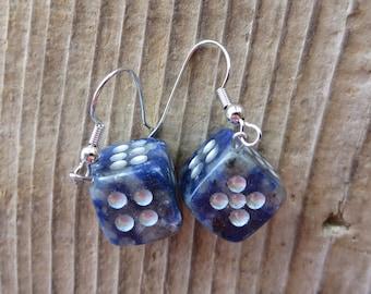 Sodalite Dice Dangle Earrings