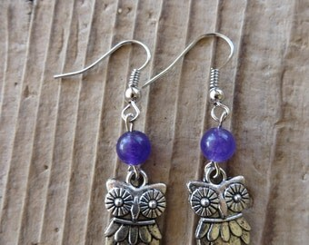 Silver Owl and Purple Agate Charm Earrings