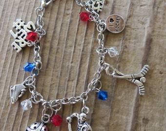 I Love Hockey Customizable Silver Charm and Crystal Bracelet