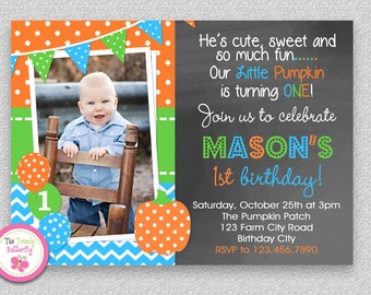 Boys Pumpkin Birthday Invitation , Fall Pumpkin Boys 1st Birthday Party Invitation