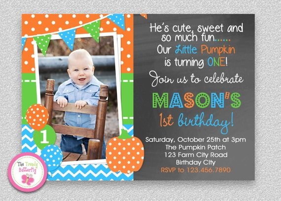 Boys Pumpkin Birthday Invitation Fall 1st Party Photo Printed