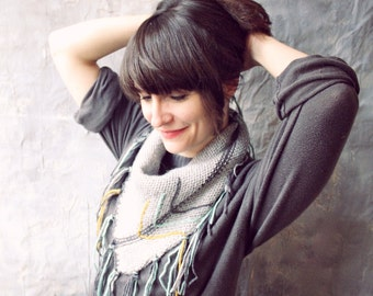 Knit Triangle Scarf - Knitted Fringed Scarf Bohemian Kerchief - Arrows and Grey