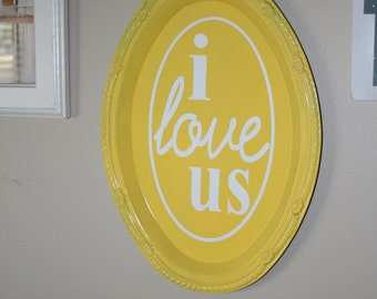 Collage Wall or Gallery Wall I Love Us SIgn.  Customizable.  Choose Your Colors.  Home Decor. Great Gift. Wedding Gift.  Wedding Display