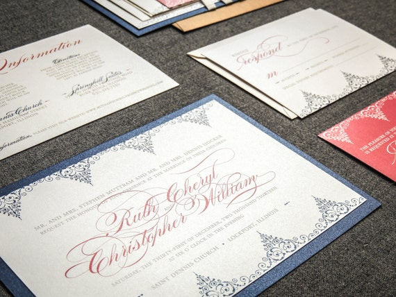 Blue And Coral Wedding Invitations: Navy Blue And Coral Wedding Invitations By JulieHananDesign