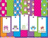 Sale! Owl Digital Paper Pack Owl Gift Tags Cards Happy Hoots Digital Scrapbook Kit Craft Supplies Owls Digital Paper Pack Owls Tags Chevron