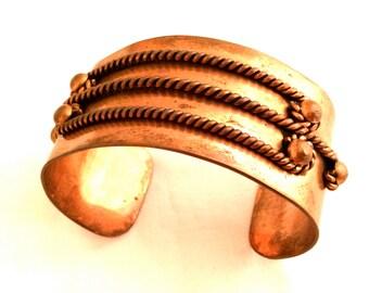 DIO HOFFMANDO Bracelet CUFF Copper 70s Adjustable Expandable Authentic Vintage Jewelry Runway Ethnic Designer Bohemian Artist Craft Handmade