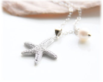 Pave Starfish Pearl Necklace