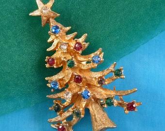 Vintage Christmas Tree Brooch, Rhinestone Figural Pin Signed LJM