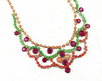 Neon Hand Painted Rhinestone Necklace- Green - Fuchsia - Coral - Orange