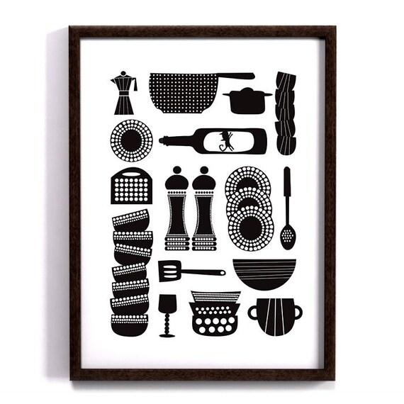 Kitchen Tools Kitchen Print Scandinavian Design Retro Art