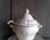 Antique White Ironstone Soup Tureen Rosette Pattern with Ladle and Platter / For the English Dining Table