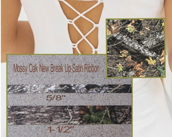 "New Mossy Oak New Break Up 5/8"" Satin Ribbon, Camo Ribbon Camouflage Ribbon 2 Yards"